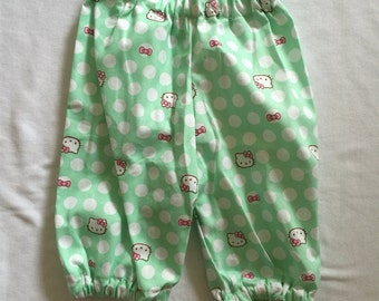 "Handmade Baby Girls Pants in ""Mint Kitty"" Print Size 000"