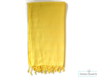 40% OFF Chakra Yellow Beach Towel   Turkish Towel   Beach Towel   Peshtemal Towel   Tassel   Bath Towel   Natural Cotton   Eco Friendly