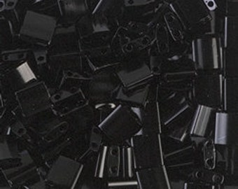 Tila Bead- Black  #401  Miyuki Tila Beads - 10 grams
