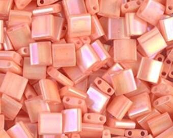 Tila Bead- Op Tea Rose Luster #596  Miyuki Tila Beads - 10 grams