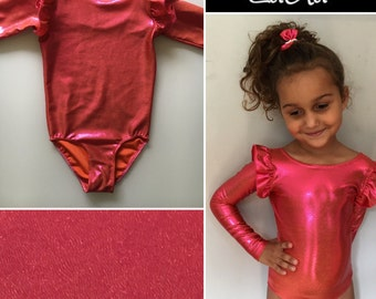 Gymnastic leotard, Pink, blue or purple sparkling long sleeve leotard with details on the sleeves