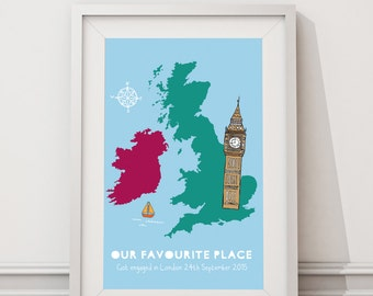 Personalised map framed print