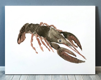 Cute lobster watercolor print Nautical decor Nursery art ACW194