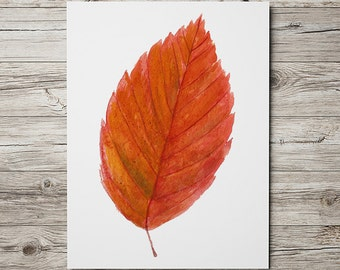 Birch leaf art Nursery print Watercolor print Autumn leaf poster ACW399