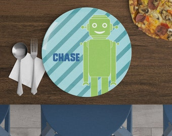 Robots - Personalized Kids Plate - Robot Plate - Custom Plate - Easter Gift - Personalized Children's Plate - Stripe Plate - Robot Birthday