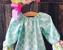 On Sale Girls Ruffle Outfit - Baby Girl Ruffle Dress and Baby Ruffle Bonnet - Girls Spring Outfit