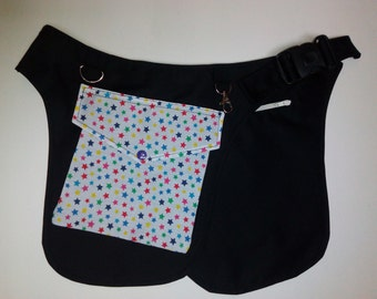 Babywearing bag, baby utility belt, hip bag with rainbow star fabric pocket and babywearing logo, size small