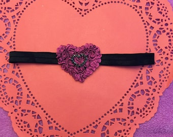 Dark pink and black heart headband-valentines day headband