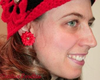 Red Star Rosette Earrings