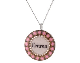 Sterling Silver Name Pendant Personalized Name Pendant w/Crystal  Swarovski Crystal Beads, Custom Made With Any Name