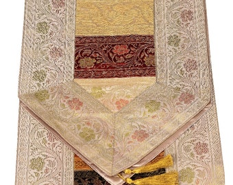 Indian Silk Table Runner in Striped Design and White Color Border Size 17x62 inches