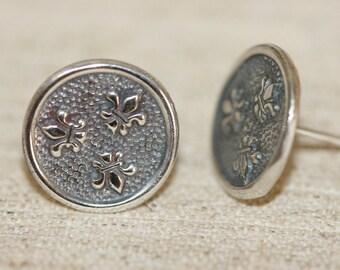Free Shipping Stud Earrings, Silver Earrings, Fleur De Lis Stud Earrings, Silver Jewelry, Handmade Silver Earrings, Silver Fleur De Lis,