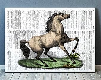 Horse print Animal art Wildlife poster Dictionary print RTA799