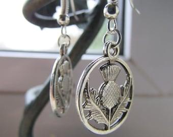 Scottish thistle earrings , Charm earrings , Dangle earrings ,Hooked earrings , Silver earrings , Gifts for her