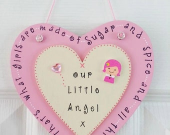 Wooden Hand painted and printed  17cm hanging heart - Nursery or Bedroom Gift