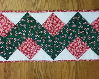 Candy cane and snowflake winter/Christmas table runner