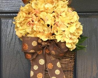 Yellow hydrangea door basket wreath alternative