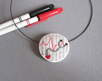 Nurse pendant, pendant for nurses black, white and red polymer clay, nurse jewelry, jewelry hospital, jewelry doctor