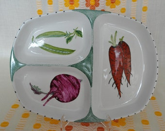 Midwinter Serving 3 section dish/platter  Hand painted  Vegetable design 1960s FREE SHIPPING