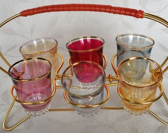 Vintage set of 6 shot glasses and stand 1960s FREE UK SHIPPING