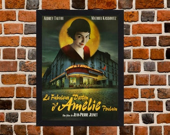 Framed Amelie Audrey Tautou French Movie / Film Poster A3 Size Mounted In Black Or White Frame
