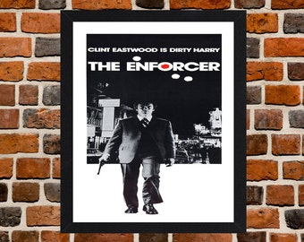 Framed Dirty Harry The Enforcer Clint Eastwood Movie / Film Poster A3 Size Mounted In Black Or White Frame (Version-1)