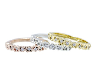 925 Sterling Silver Clear CZ Dainty Heart Ring 0.41 CT.TW (14k gold/14k rogegold/silver)(S108)