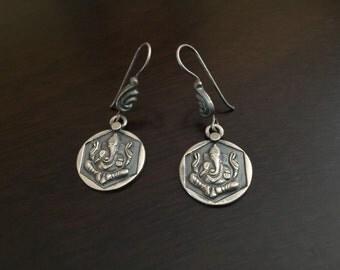Ganesha sterling Silver Earrings /Indian jewelry/925 silver chandelier/ jaipur/tribal earrings/boho/indian ethnic/jhumkas/jhumki/chandelier