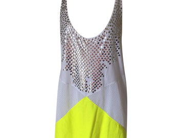 Unique Handmade Designer White and Fluro yellow Tank Top Sports Singlet with Silver Bling Design