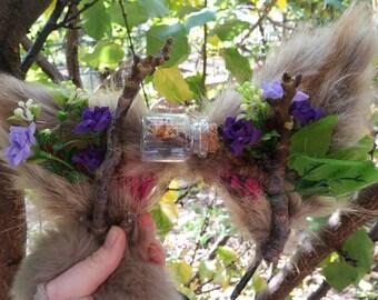 Forest Flower Fox Ears Festival Head dress Wreath with Bottled Moth
