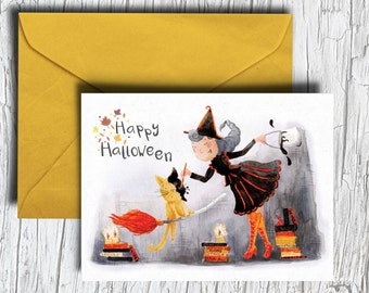 Halloween Card - Witch and Cat Card - Happy Halloween