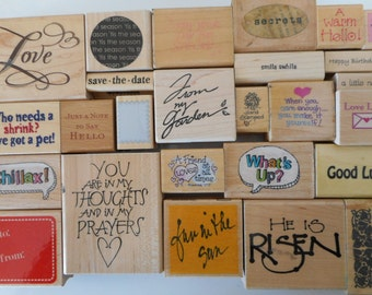 26 Rubber Stamps, Various Phrases, Gently Used, Free Shipping