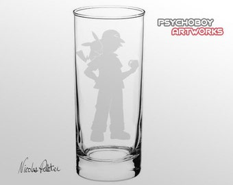 Engraved glass Ash and Pikachu