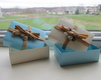 "Beach/Ocean Themed Gift Boxes, Blue and Sand Mixed, 3"" x 2"", Individual"