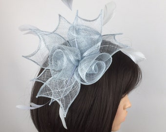 Pale Blue fascinator baby blue comb fascinator sinamay flower - Wedding, Mother of the Bride, Ascot, Ladies Day, BBQ, party, Races