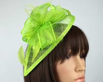 Statement Neon Green Fascinator for Aintree Ladies Day and Ascot races, weddings, occasions