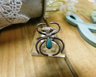 Sterling Silver Spider Turquoise Ring