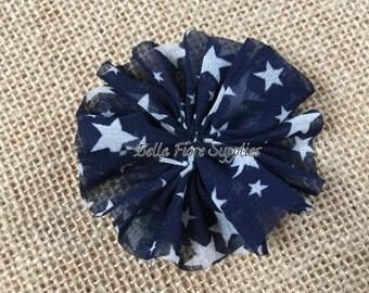 Blue Star Ballerina Chiffon Flowers, 4th of July Chiffon Flowers- 2.5 inch, Chiffon Flowers, Wholesale, DIY, Chiffon Headband