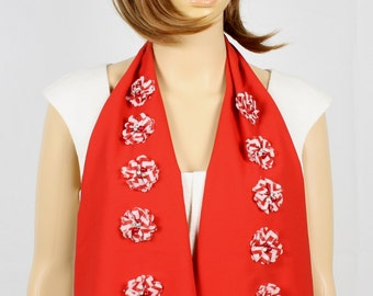 Red Floral Scarf