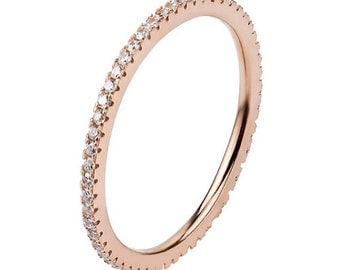 Rose Gold Ring 925 Solid Sterling Silver White Stones Stacking Stackable Stack Band Women Sparkling Pave Rose Gold Plated