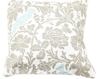 Powder Blue Bird Deocrative Throw Pillow