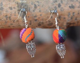 Pearl Earrings, wool of Peru, and OWL