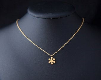 Snowflake Necklace, Winter Jewelry, Tiny Snowflake Necklace, Christmas Necklace, Snowflake Pendant, Gold Snowflake, Christmas Gift for Her