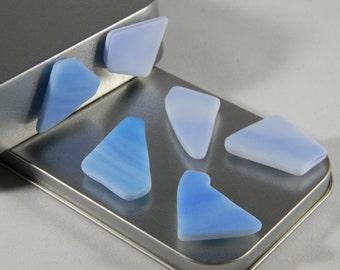 Blue Sea Glass magnet set - Refrigerator magnets - Beach House decor - Imitation Seaglass - Beach Glass Magnet - SG06