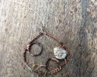 Wire Wrapped Copper & Agate Circle drop