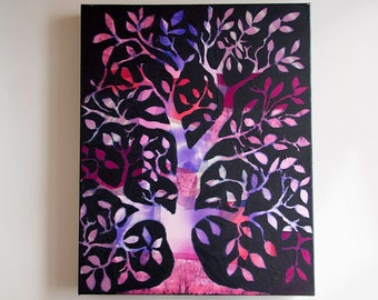 Purple Tree Wall Art, Original Art, Large mixed media painting, Tree of Life Art, Purple Decor, Tree painting, Purple art, Art Sale