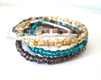 Multicolor beaded bracelets bundle