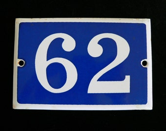 Vintage French blue and white thick enamel house or gate number - No. 62