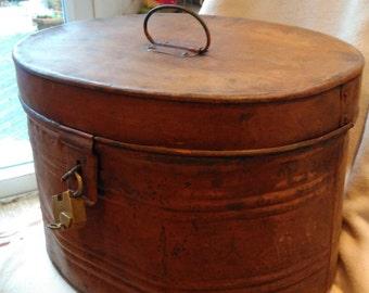 Antique Metal Hat Box