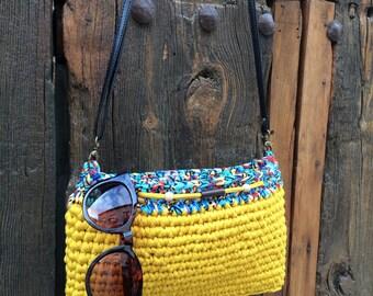 Handmade crochet bag. Yellow summer bag. Cotton yarn bag. Handmade bag. Shoulder bag.
